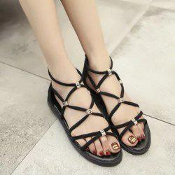 Zipper Strappy Flat Heel Sandals - BLACK