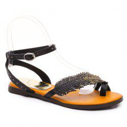 Toe Ring Leaf Embellishment Sandals