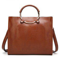 Metal Ring Faux Leather Tote Bag