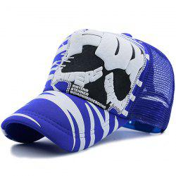 Mesh Spliced Skull Striped Breathable Hat - BLUE