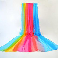 Gossamer Stripe Rainbow Color Chiffon Shawl Scarf - BLUE+YELLOW+RED