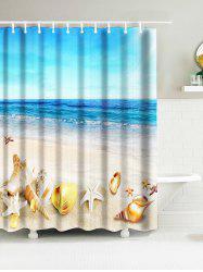 Sea Beach Shell Print Waterproof Nautical Bath Curtain