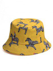 Cartoon Zebra Printing Bucket Cap