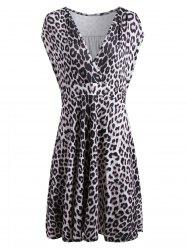 Plus Size Sleeveless V Neck Surplice Leopard Dress