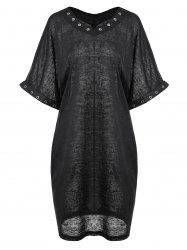 Plus Size Metal Evelet Embellished Tee Dress