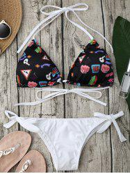 Halter Graphic Print String Bikini Set