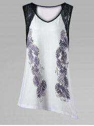 Plus Size Lace Insert Sleeveless Asymmetric T-Shirt