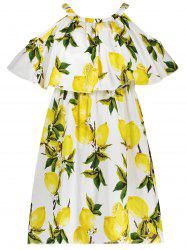 Flounce Lemon Print Dress