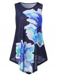 Floral Print Asymmetrical Plus Size Top