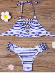 Striped Strappy Padded Bra Bathing Suits