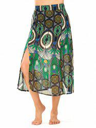 High Waisted Slit Ornate Print Skirt