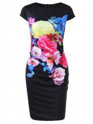 Cap Sleeve Floral Fitted Dress