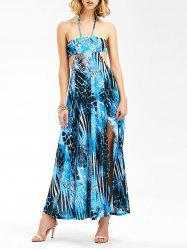Halter Print Backless Maxi Summer Dress -