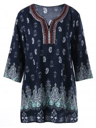 Paisley Embroidery Plus Size Bohemian Blouse