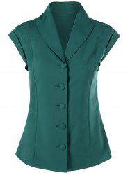 Button Up Shawl Collar Slimming Blouse -