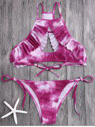 Tie Dye Cut Out Bikini with Ruffles