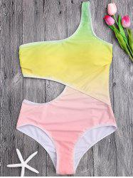 One Shoulder Ombre Cut Out Swimsuit