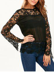 Stylish Round Neck Long Sleeve Spliced Hollow Out Women's Blouse - BLACK
