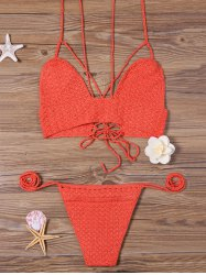 Lace Up Crochet Strappy Bikini Set
