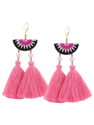 Ethnic Geometric Embroidery Beaded Tassel Earrings