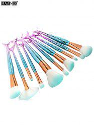 MAANGE 10Pcs Ombre Mermaid Shape Makeup Brushes Set - WHITE + GREY