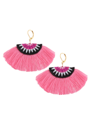 Ethnic Fan-Shaped Embroidery Tassel Earrings