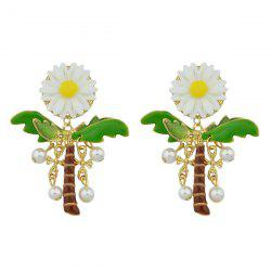 Faux Pearl Sunflower Coconut Palm Crucifix Earrings