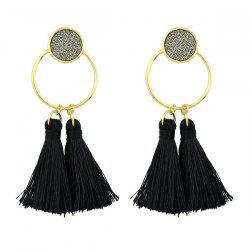 Metal Circle Tassels Hoop Drop Earrings
