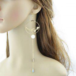 Bird Circle Extra Long Chain Hook Earrings