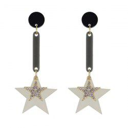 Rhinestone Circle Double Star Drop Earrings