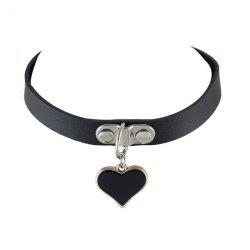 Faux Leather Love Heart Shape Choker Necklace