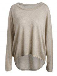 Dolman Sleeve Asymmetrical Sweater - APRICOT