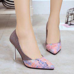 Geometric Pattern Glitter Pumps - COLORMIX