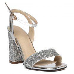 Block Heel Sequins Ankle Strap Sandals