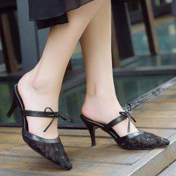 Bow Mesh Pointed Toe Slippers