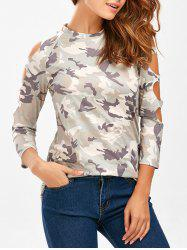 Cut Out Raglan Sleeve Camo Tee