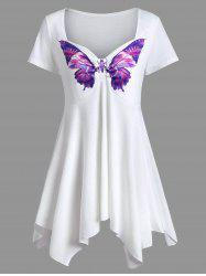 Sweetheart Neck Asymmetrical Butterfly Print Tee - WHITE
