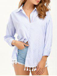 Striped Button Up Tassel Shirt