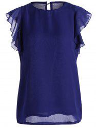Crew Neck Butterfly Sleeve Chiffon Top