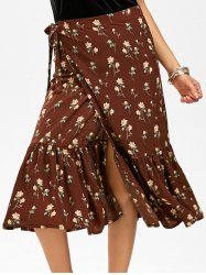 Tiny Floral Print Mermaid Chiffon Wrap Skirt