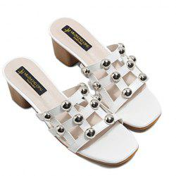 Block Heel Studded Slippers