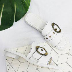 Faux Leather Belt Buckle Slippers