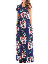 Long Floral Summer Formal Dress for Wedding - NAVY BLUE