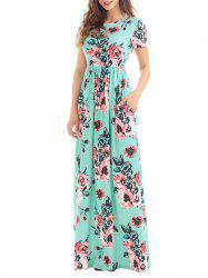 Long Floral Summer Formal Dress for Wedding - GREEN