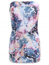 Star Print Strapless Bodycon Mini Dress