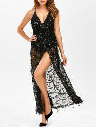 Sequin Backless Maxi See Through Dress