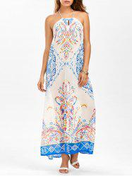 Open Back Tribal Print Halter Neck Long Dress