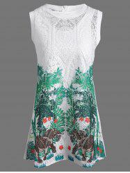 Embroidered Lace Mini Dress With Tank Dress