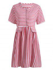 High Waist Button Plus Size Stripe Smock Dress