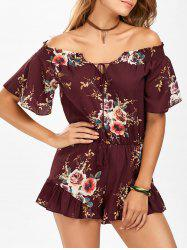 Off The Shoulder Tassel Floral Print Romper - WINE RED